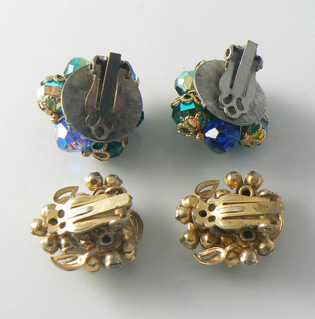 2 Pair Vintage Blue And Green Clip Earrings - Vintage Lane Jewelry