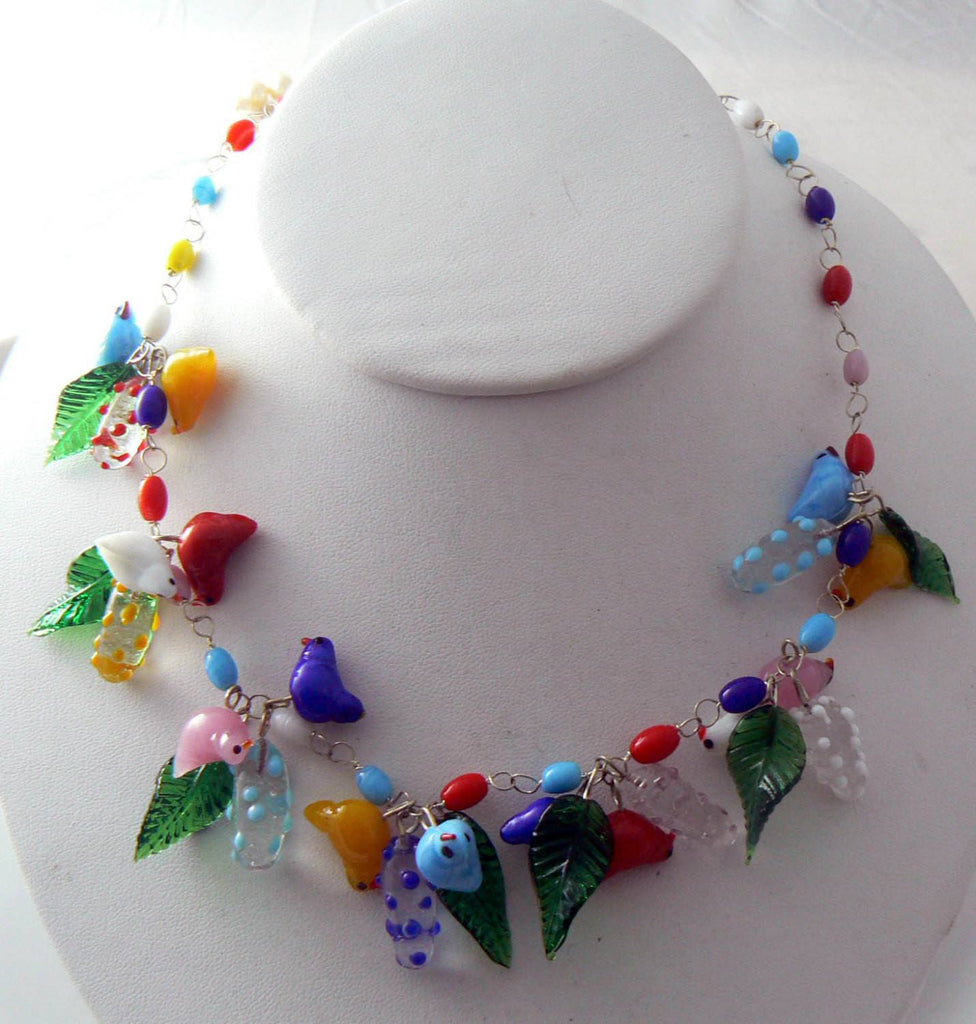 Vintage Murano Glass Birds, Leaves And Blossoms Necklace - Vintage Lane Jewelry
