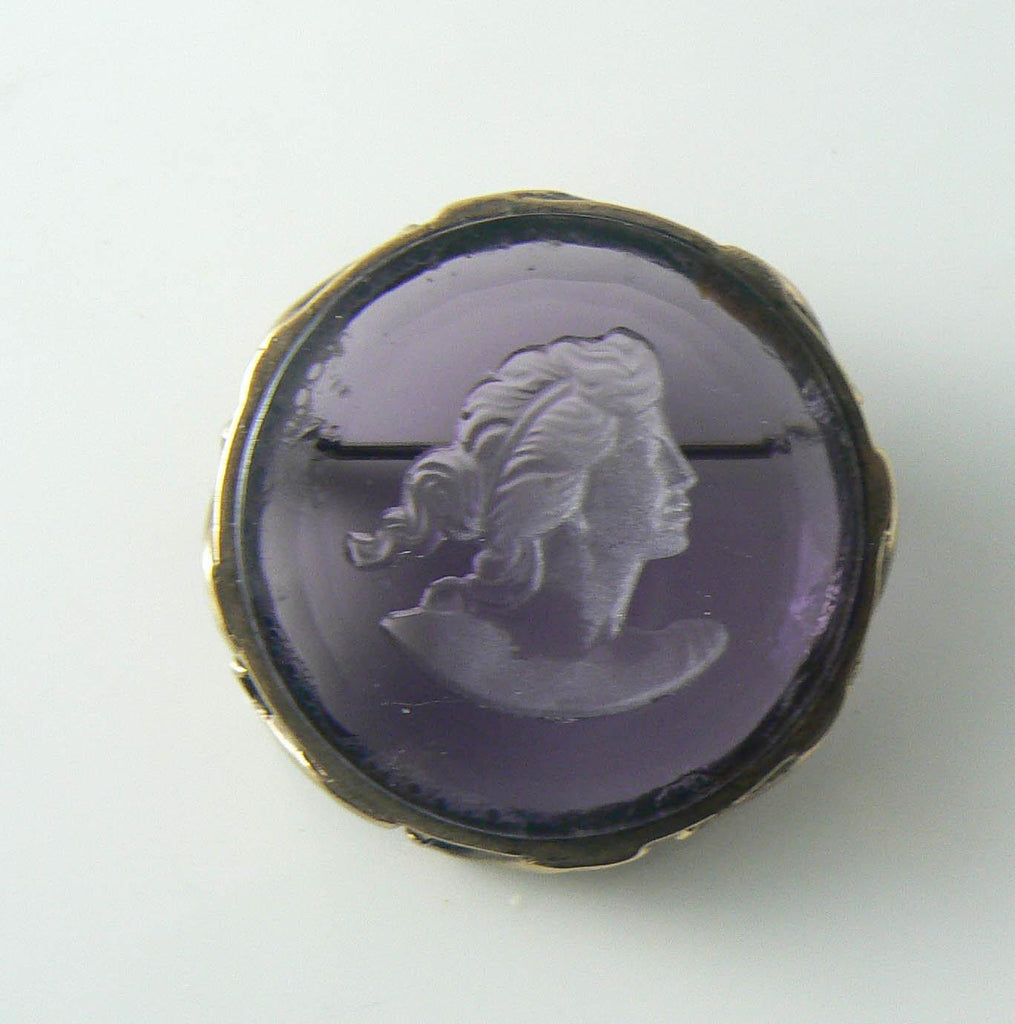 Extasia German Intaglio Amethyst Glass Cameo Brooch - Vintage Lane Jewelry