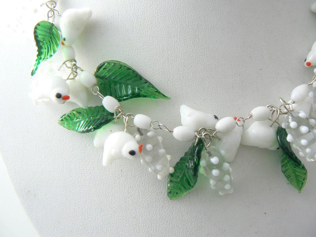 Vintage Murano White Glass Birds, Leaves And Blossoms Necklace - Vintage Lane Jewelry