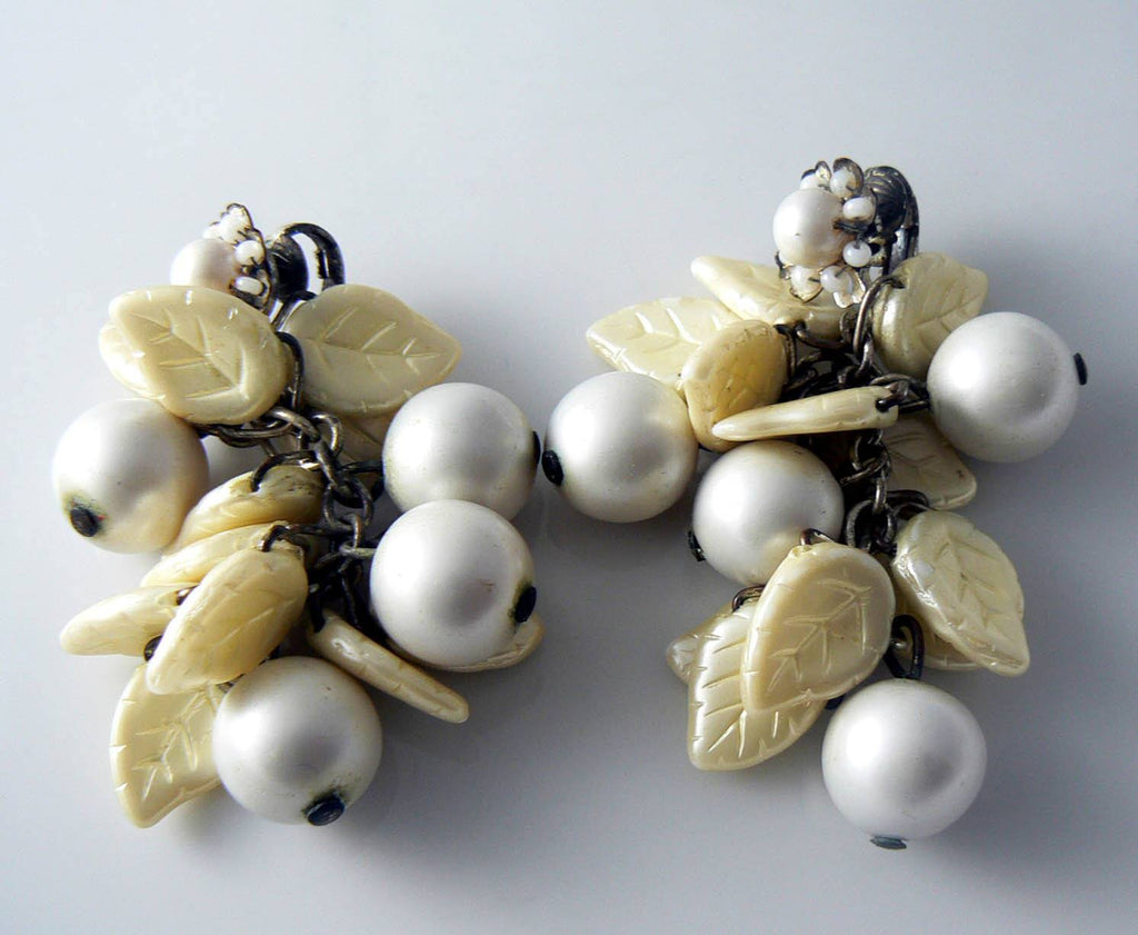 Miriam Haskell Dangling Faux Pearl Glass Leaves Clip Earrings - Vintage Lane Jewelry
