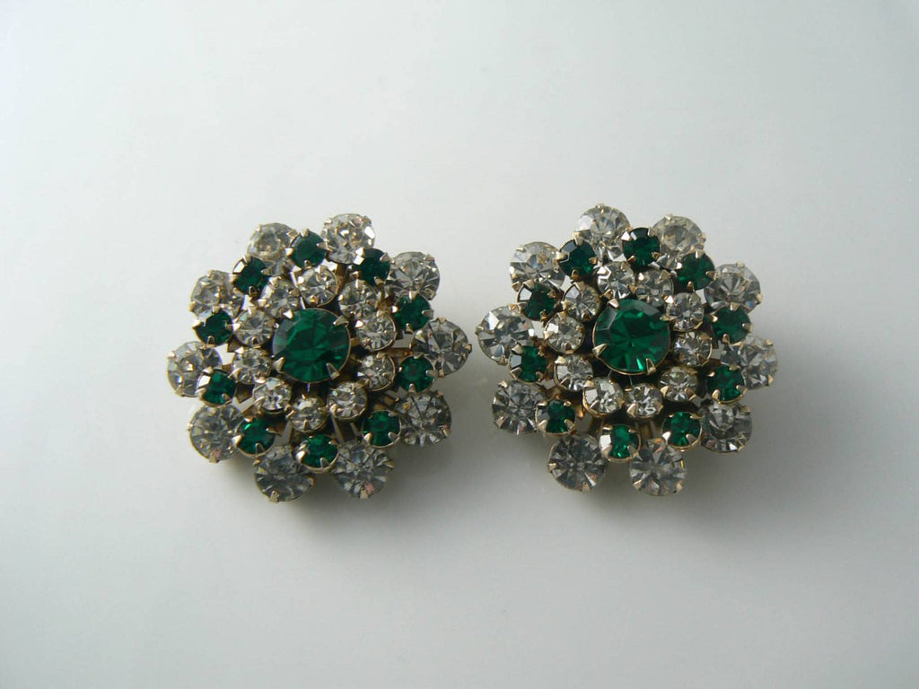 Sparkling Green And Clear Round Cut Rhinestone Earrings - Vintage Lane Jewelry