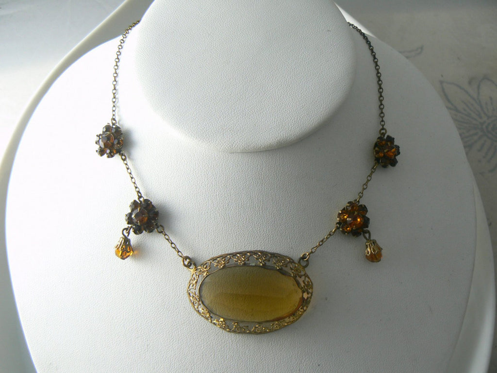 Vintage Art Deco Topaz Rhinestone Pendant And Glass Bead Necklace - Vintage Lane Jewelry