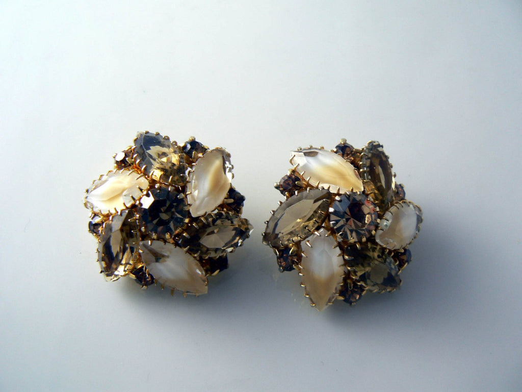 Vintage Marquise Brown And Tan Rhinestone Givre Clip Earrings - Vintage Lane Jewelry