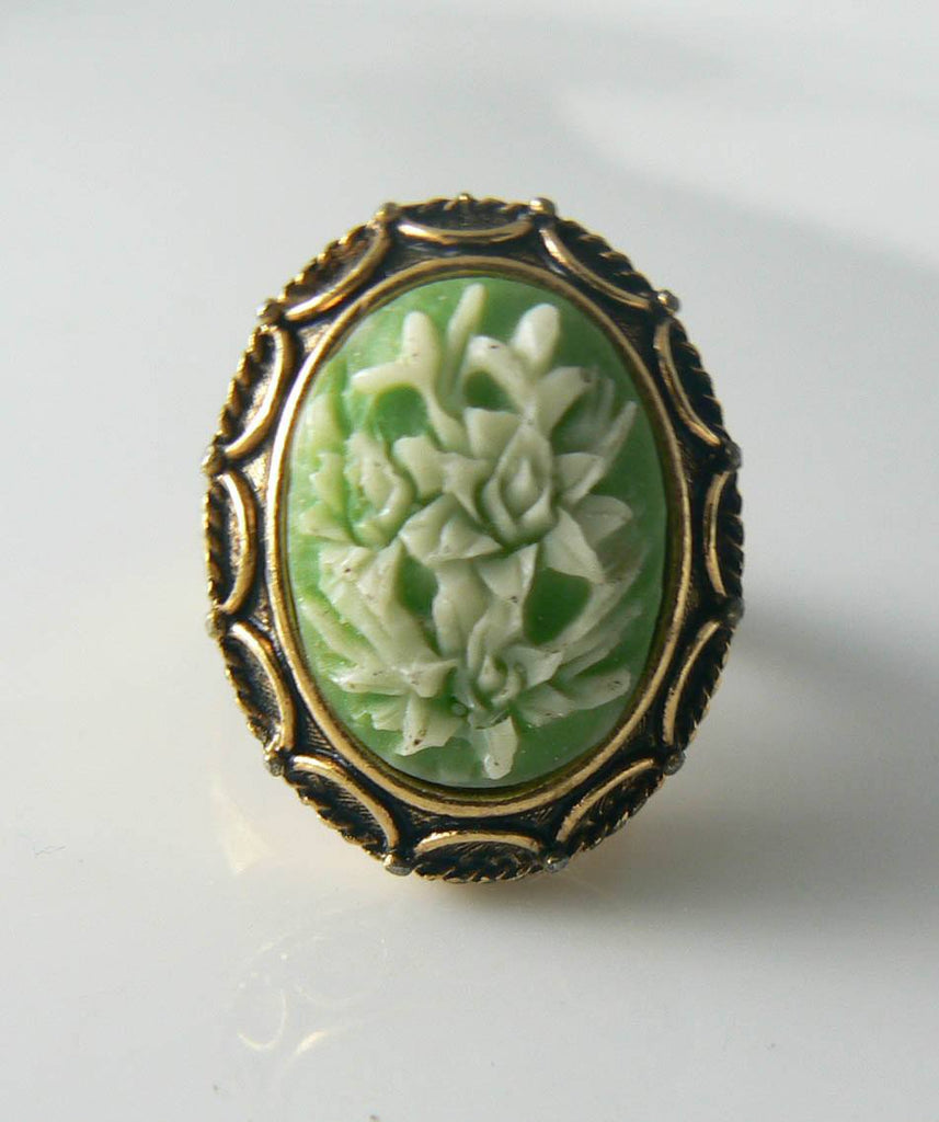 Vanda Floral Lily Cameo Locket Poison Ring - Vintage Lane Jewelry