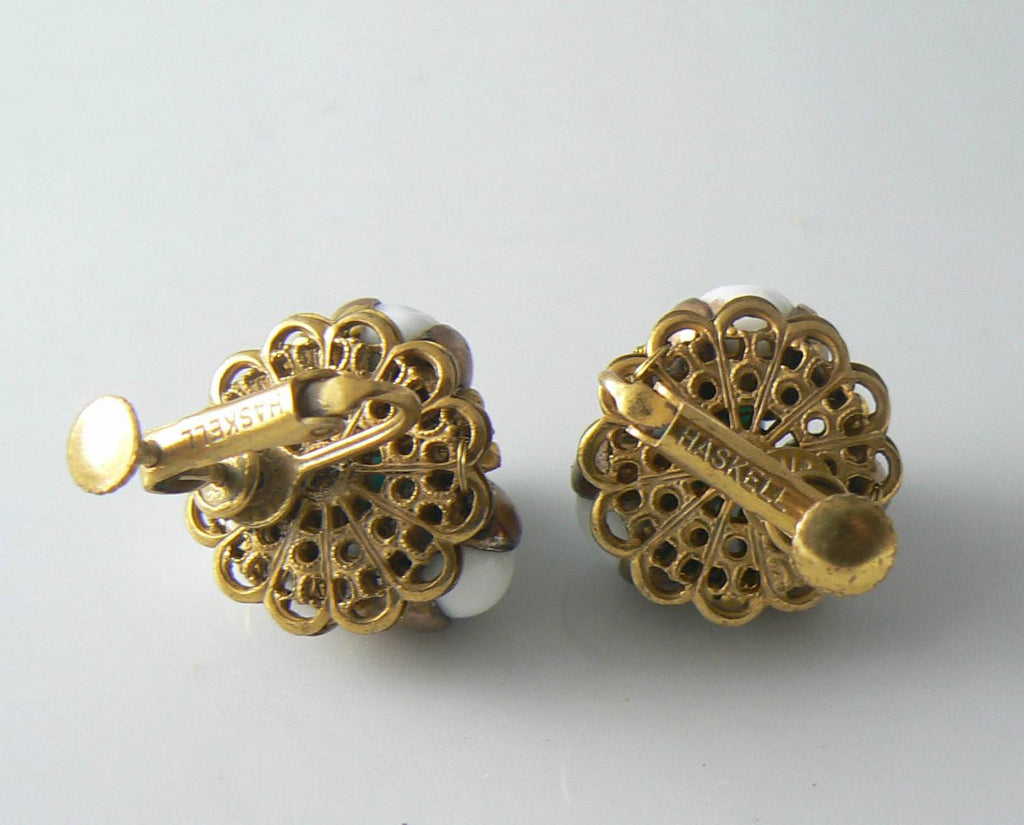 Miriam Haskell Gold Tone Filigree And Glass Earrings - Vintage Lane Jewelry