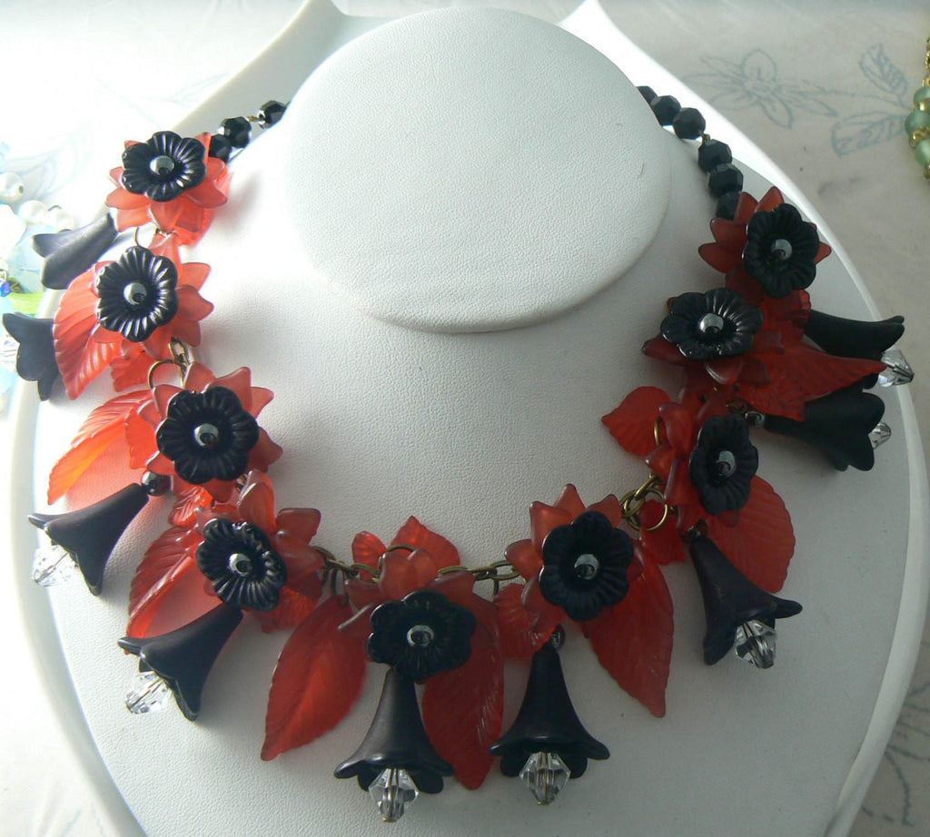 Vintage Red Lucite And Black Hematite Floral Statement Necklace - Vintage Lane Jewelry - 1