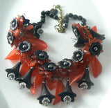 Vintage Red Lucite And Black Hematite Floral Statement Necklace - Vintage Lane Jewelry - 2