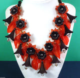 Vintage Red Lucite And Black Hematite Floral Statement Necklace - Vintage Lane Jewelry - 3