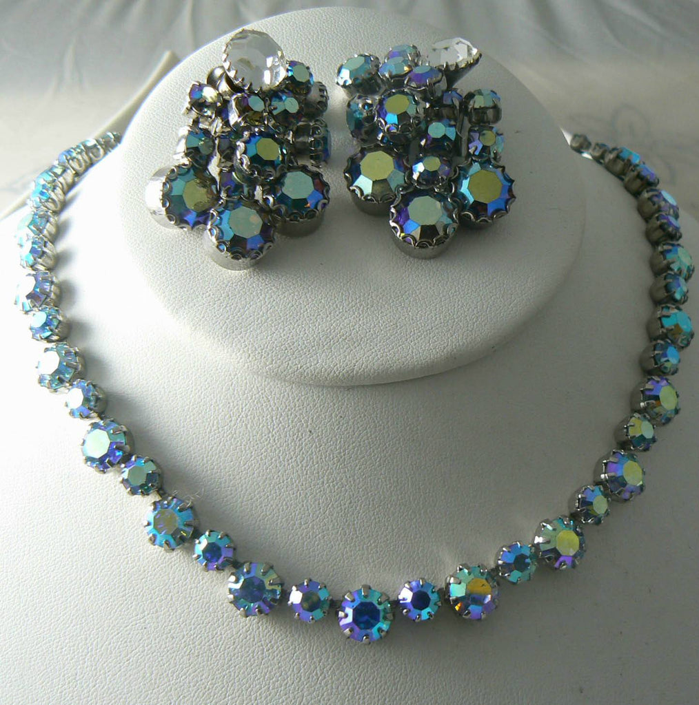 Vintage Ab Rhinestone Fenichel Necklace And Earrings - Vintage Lane Jewelry