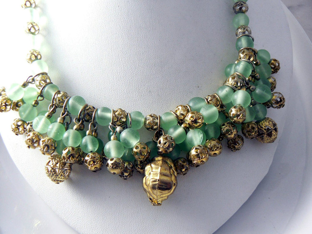 Green Glass Bead Gold Filigree Cha Cha Necklace - Vintage Lane Jewelry