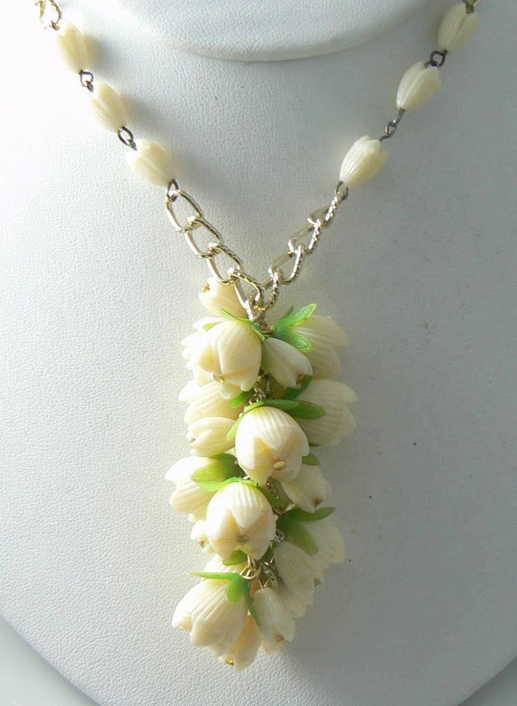 Vintage Ivory Plastic Flower Necklace And Earring Set - Vintage Lane Jewelry