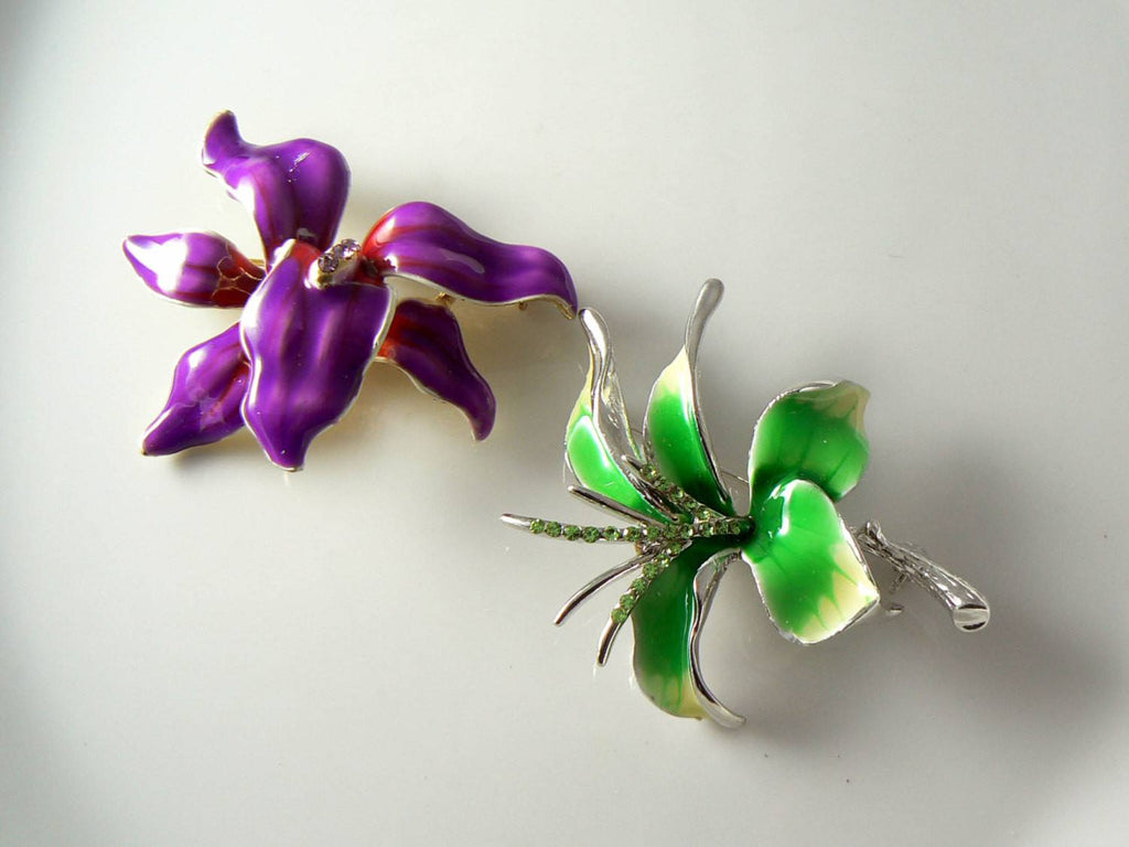 Purple And Green Enamel Orchid Pins - Vintage Lane Jewelry - 1