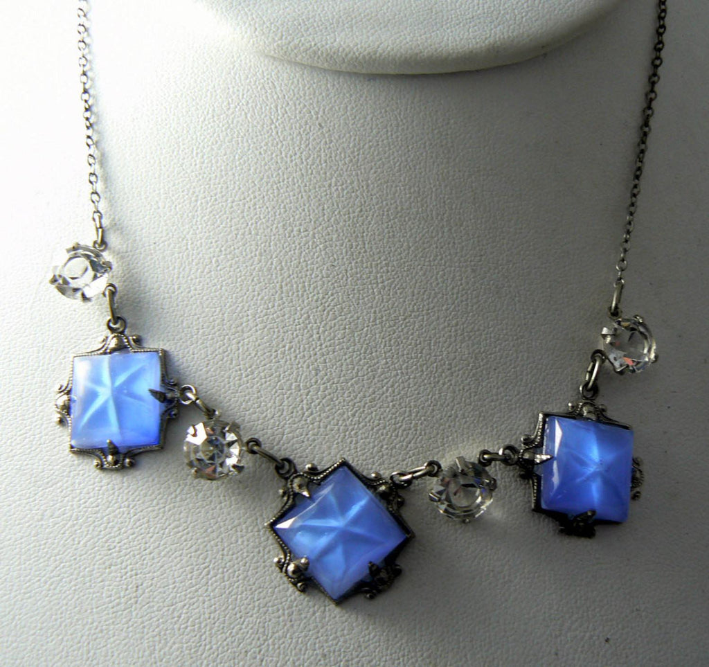 Art Deco Necklace Blue Star Satin Glass And Open Set Crystals - Vintage Lane Jewelry