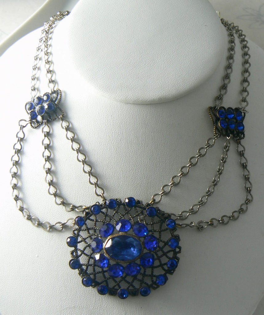 Victorian Revival Blue Rhinestone Festoon Necklace - Vintage Lane Jewelry