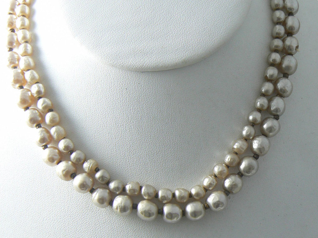 Vintage Miriam Haskell Double Strand Baroque Pearl Necklace - Vintage Lane Jewelry