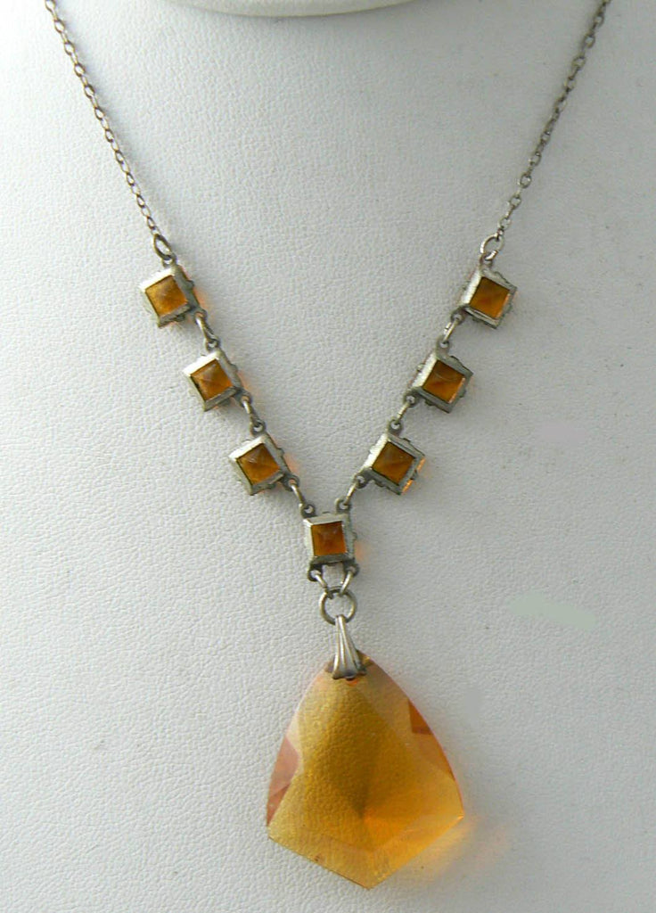 Czech Art Deco Citrine Glass Pendant Necklace - Vintage Lane Jewelry