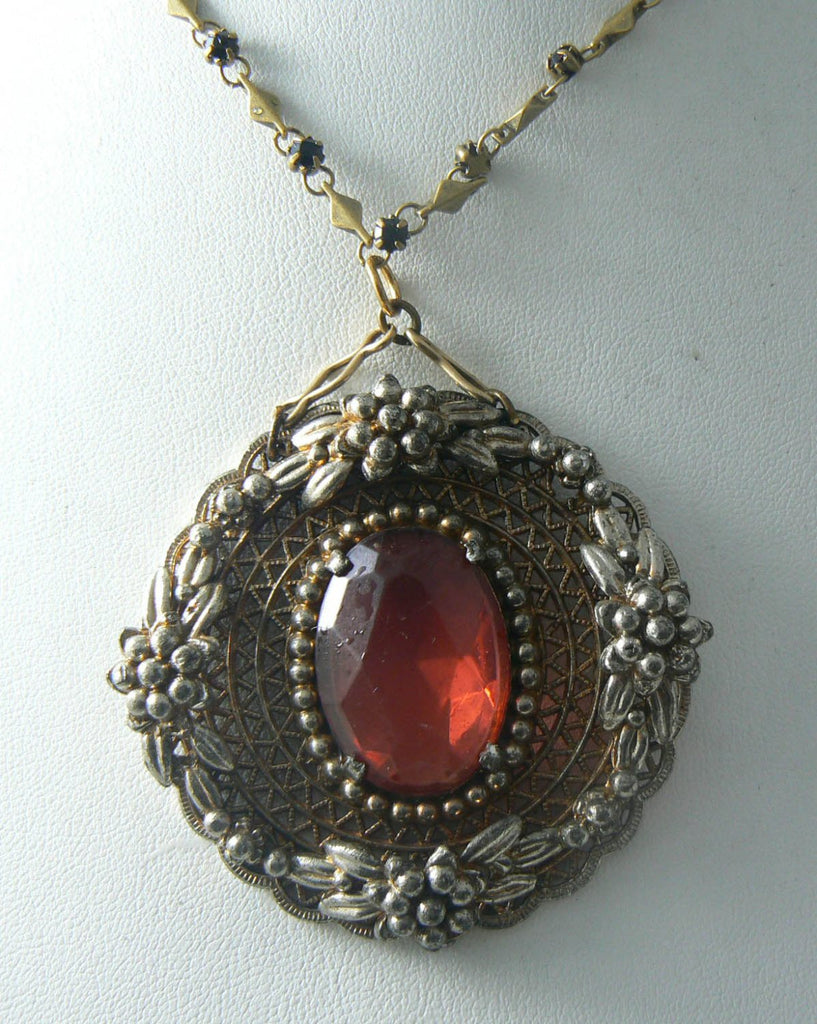 "Vintage Victorian Revival Pendant On A 27"" Chain With Garnet Crystals - Vintage Lane Jewelry - 1"