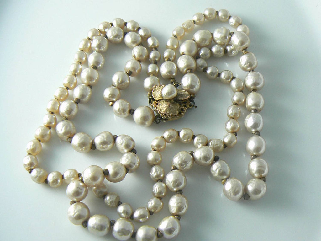 Vintage Miriam Haskell Double Strand Baroque Pearl Necklace - Vintage Lane Jewelry - 1