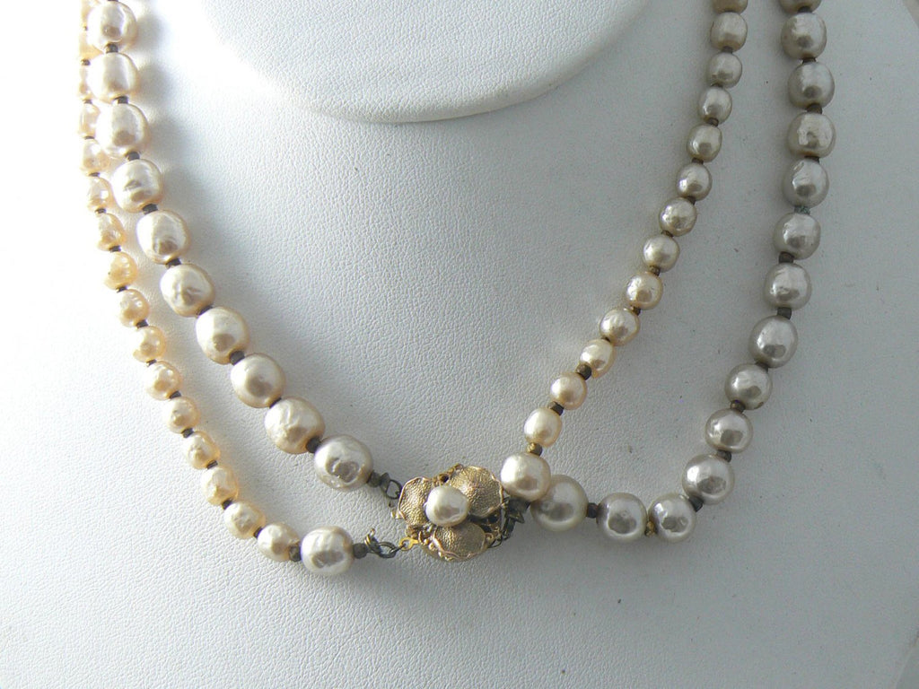 Vintage Miriam Haskell Double Strand Baroque Pearl Necklace - Vintage Lane Jewelry - 3