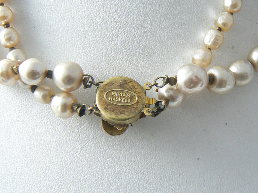 Vintage Miriam Haskell Double Strand Baroque Pearl Necklace - Vintage Lane Jewelry - 4