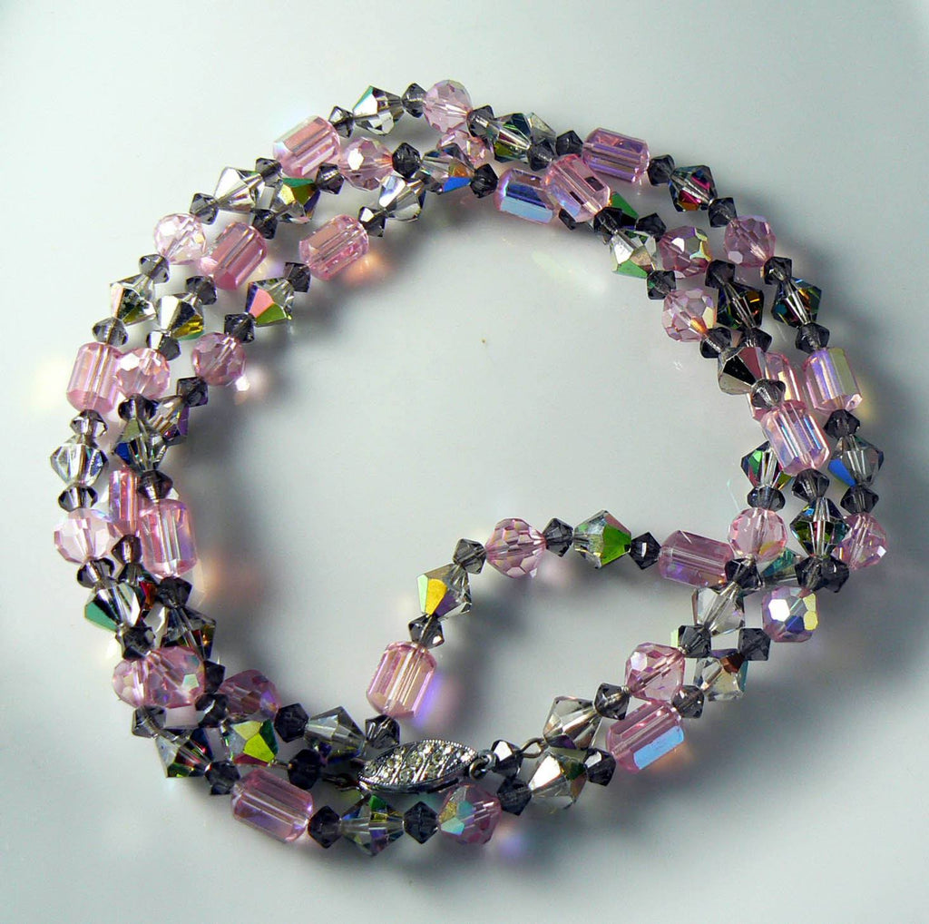 Vintage Sparking Pink And Gray Ab Crystal Necklace - Vintage Lane Jewelry - 3