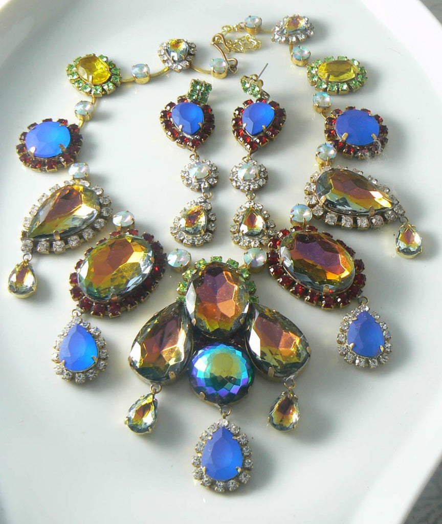 Unusual Czech Glass Neon Ab Necklace Earring Set - Vintage Lane Jewelry