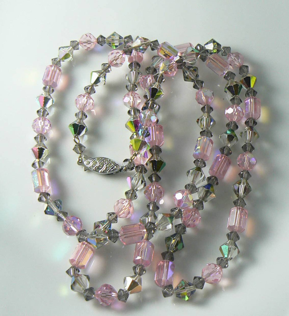 Vintage Sparking Pink And Gray Ab Crystal Necklace - Vintage Lane Jewelry - 1