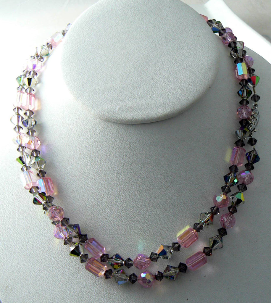 Vintage Sparking Pink And Gray Ab Crystal Necklace - Vintage Lane Jewelry