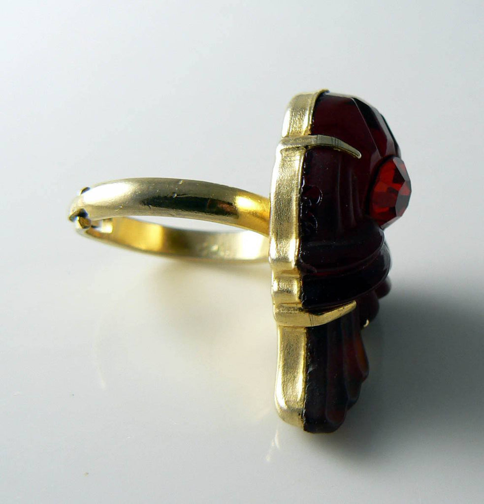 Vintage Molded Red Rhinestone Cocktail Ring - Vintage Lane Jewelry