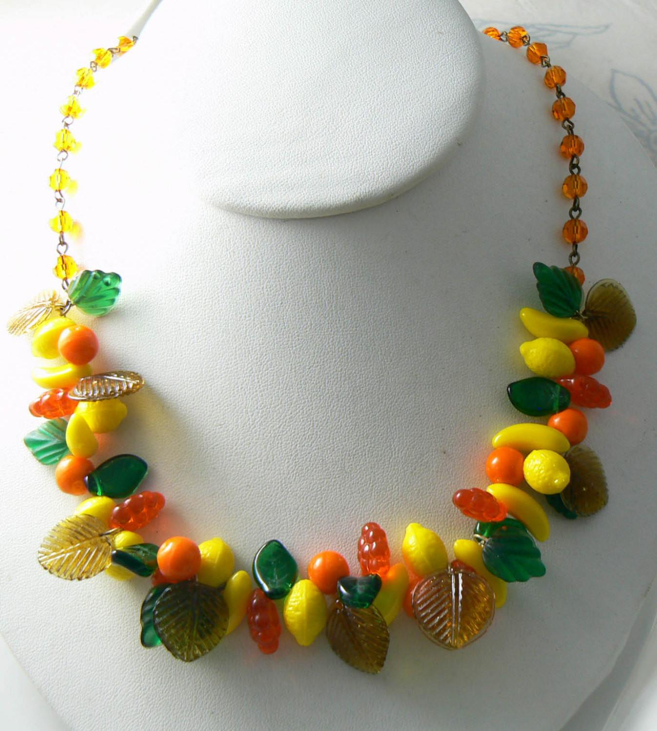fruit jewelry vintage glass fruit salad necklace vintage jewelry 2151