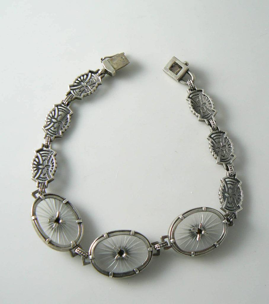 Vintage Camphor Glass Filigree Sterling Bracelet - Vintage Lane Jewelry