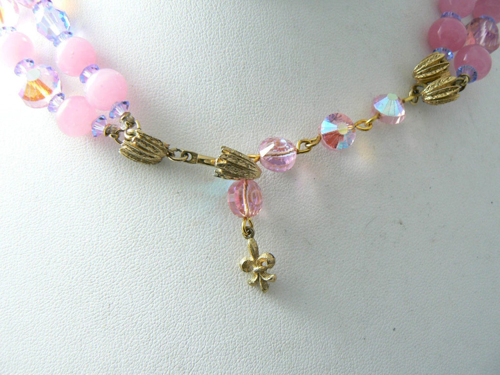 Vintage Vendome 2 Strand Pink, Blue Crystal Necklace - Vintage Lane Jewelry