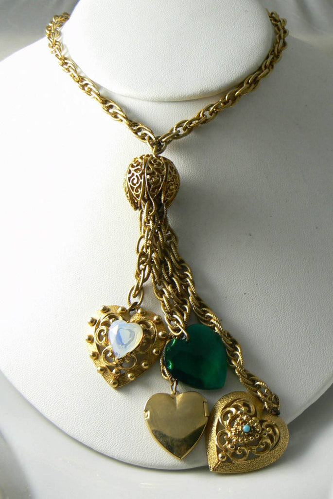 "Florenza Designer Signed Vintage ""four"" Dangle Hearts- Locket Necklace - Vintage Lane Jewelry"