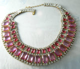 Red and Pink Czech Rhinestone Bib Necklace - Vintage Lane Jewelry