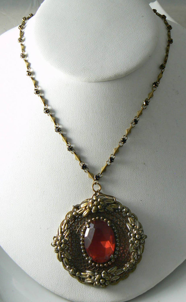 "Vintage Victorian Revival Pendant On A 27"" Chain With Garnet Crystals - Vintage Lane Jewelry - 2"