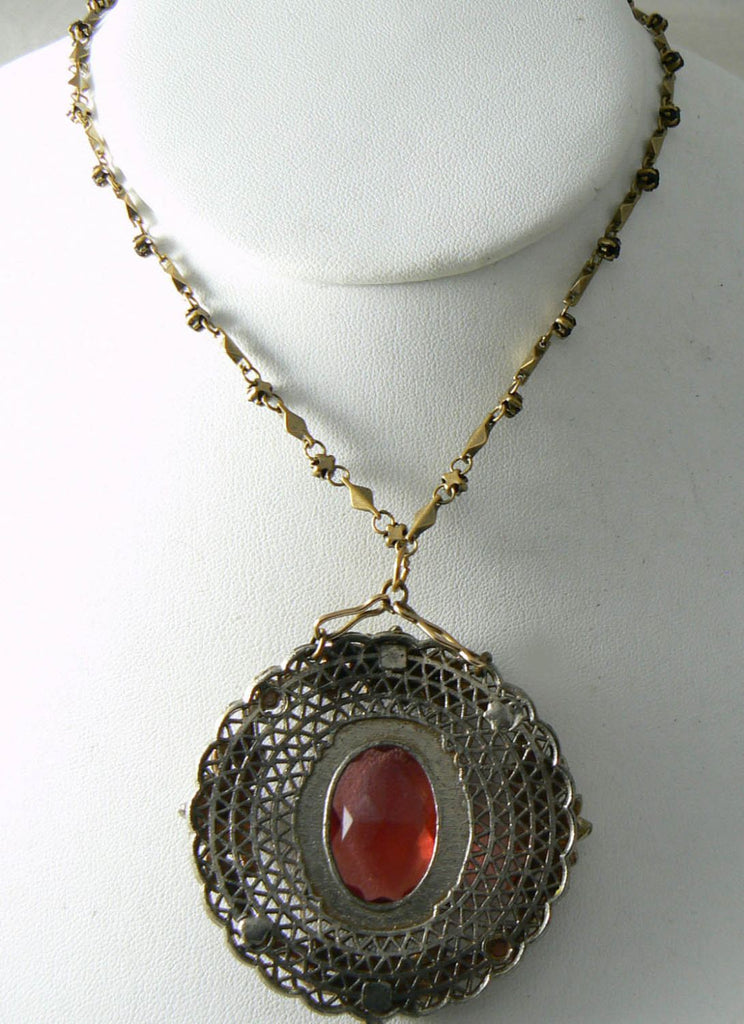 "Vintage Victorian Revival Pendant On A 27"" Chain With Garnet Crystals - Vintage Lane Jewelry"