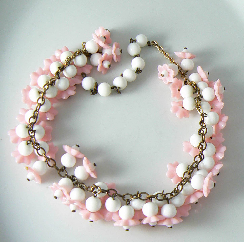 Vintage Pink And White Art Glass Molded Flowers Necklace - Vintage Lane Jewelry - 1