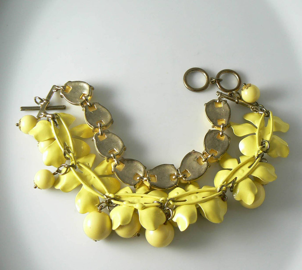 Huge Retro Yellow Enamel Flower And Plastic Bead Bracelet - Vintage Lane Jewelry