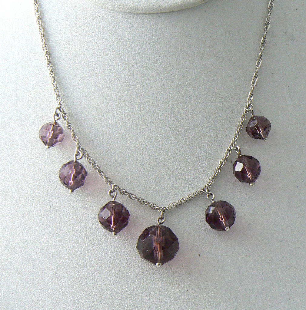 Sterling Silver Amethyst Glass Dropper Necklace - Vintage Lane Jewelry