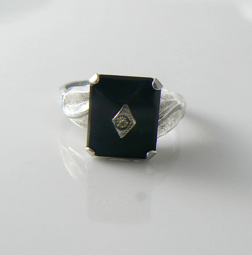 Vintage Art Deco Sterling Onyx And Diamond Ring - Vintage Lane Jewelry