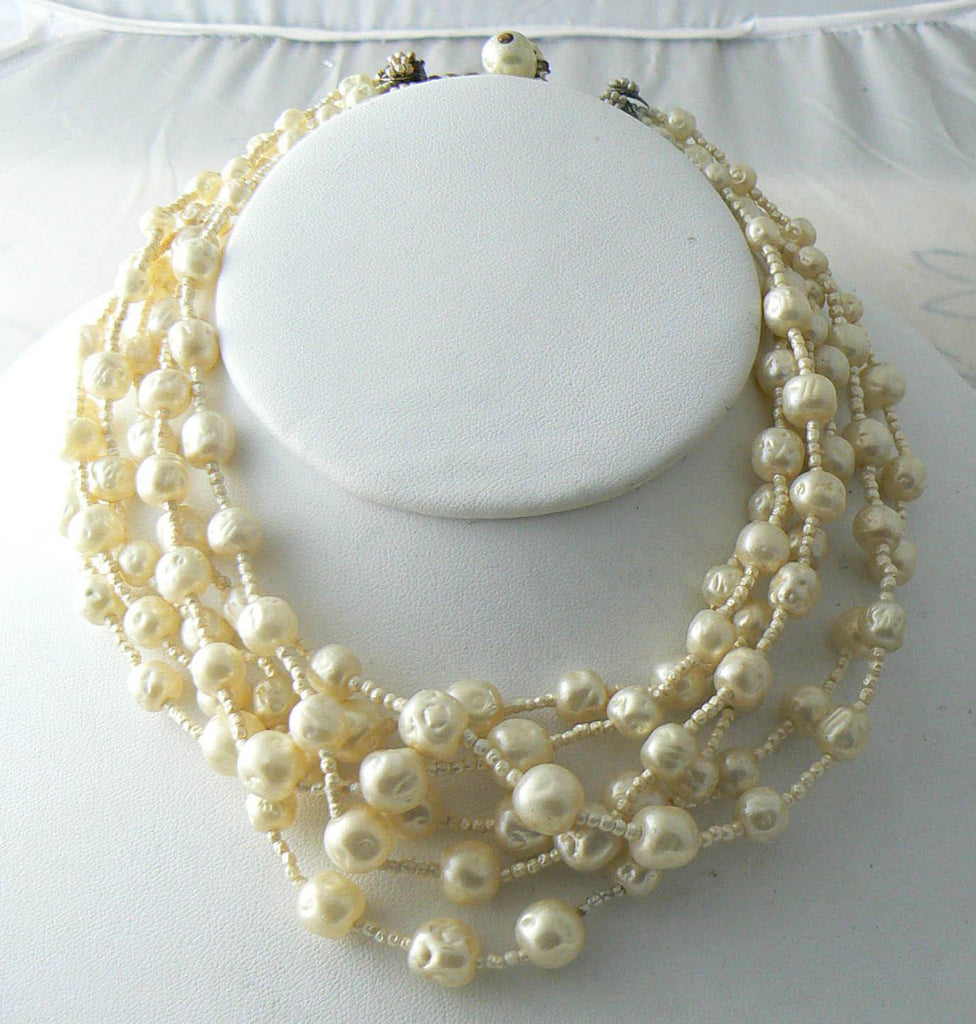 Miriam Haskell 6 Strand Baroque Style Pearl Vintage Necklace - Vintage Lane Jewelry