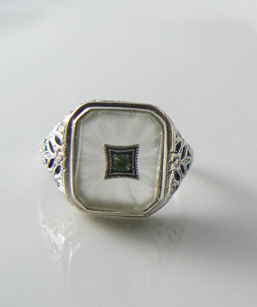 Beautiful Art Deco Sterling Silver Camphor Glass Peridot Ring - Vintage Lane Jewelry