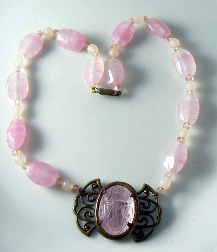 Vintage Art Deco Pink Glass And Scarab Pendant Necklace - Vintage Lane Jewelry