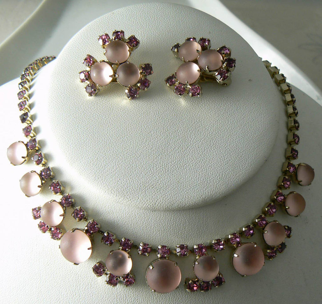 Vintage Necklace Earring Pink Glass Rhinestone Earring Set - Vintage Lane Jewelry