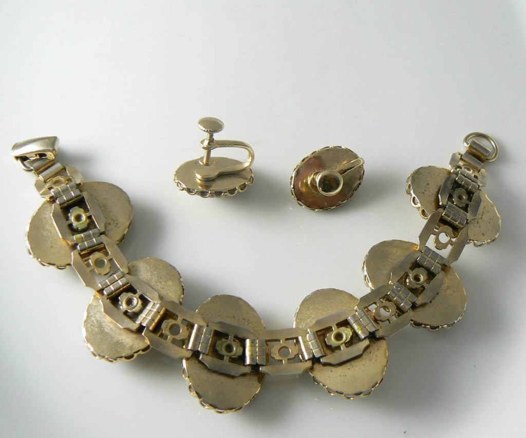 Vintage Gold And White Confetti Glass Bracelet And Earring Set - Vintage Lane Jewelry - 2
