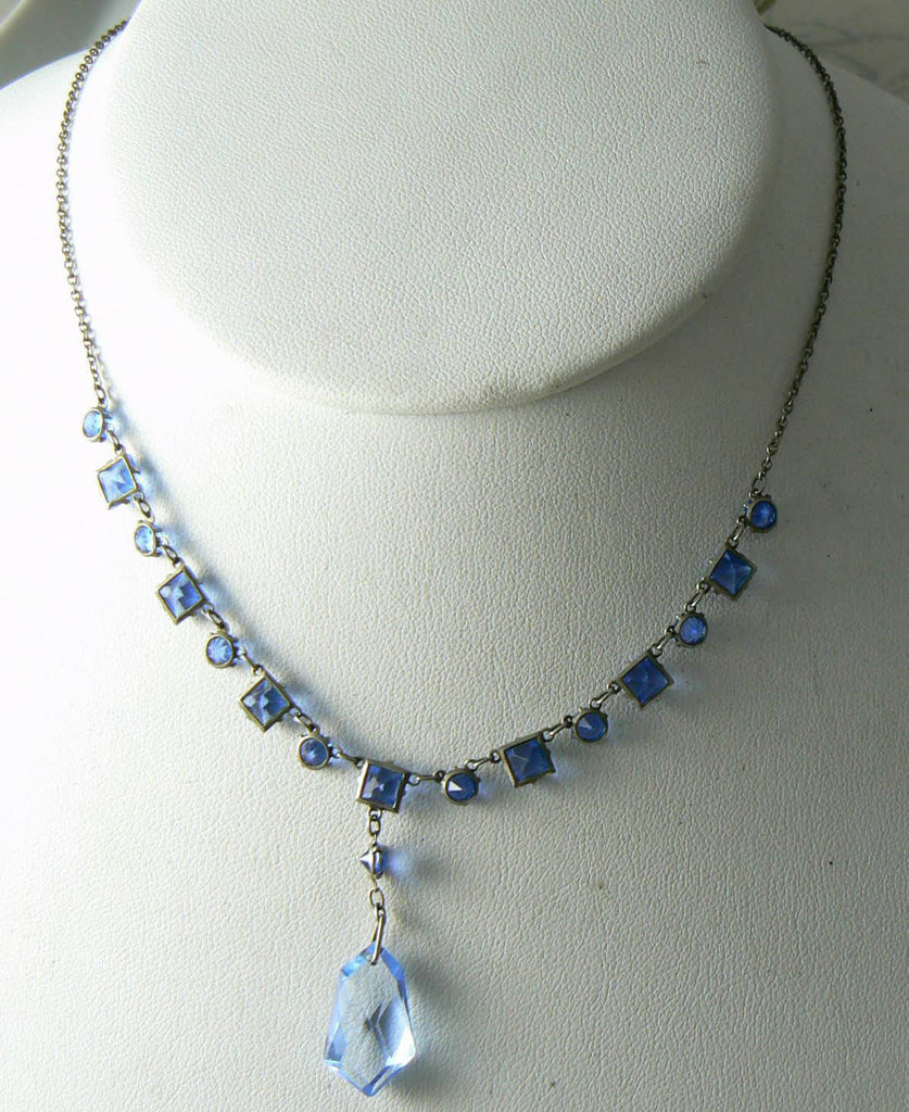 Art Deco Silver Tone Blue Glass Geometric Link Necklace With Pendant - Vintage Lane Jewelry