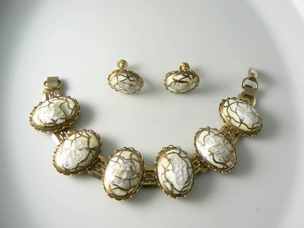 Vintage Gold And White Confetti Glass Bracelet And Earring Set - Vintage Lane Jewelry - 1