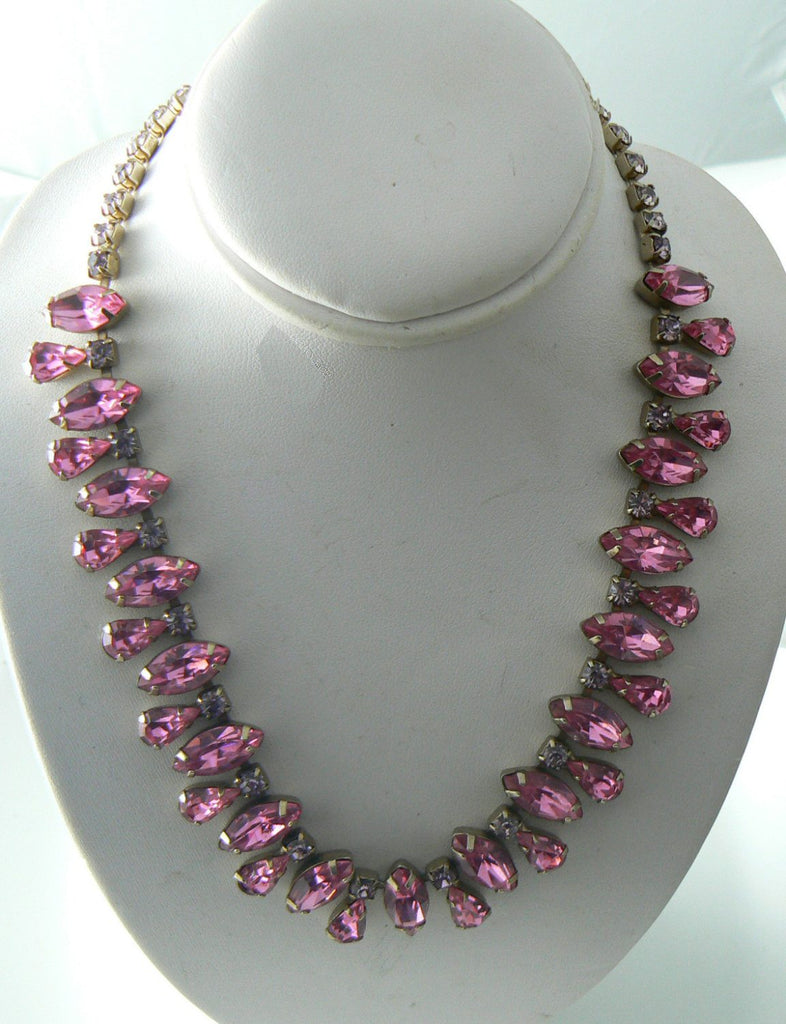 Pretty In Pink Vintage Glass Rhinestone Bib Necklace - Vintage Lane Jewelry
