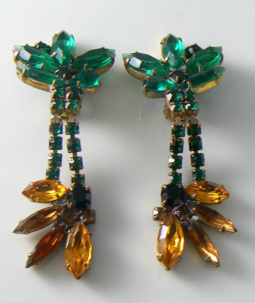 Czech Glass Sunflower Rhinestone Earrings - Vintage Lane Jewelry - 1